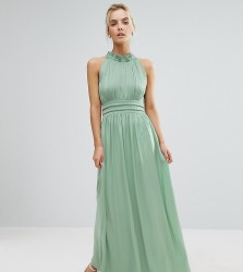 Little Mistress Petite Ruched Pleated Maxi Prom Dress - Green