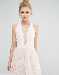 Little Mistress Petite Scallop Plunge Front Skater With Mesh Panel And Lace Skirt - Pink