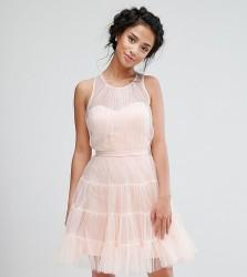 Little Mistress Petite Tiered Tulle Mini Prom Dress - Pink
