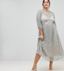 Little Mistress Plus All Over Lace Maxi Dress With Balloon Sleeve Detail - Green