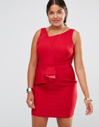 Little Mistress Plus Asymmetric Pleat Detail Pencil Dress - Red