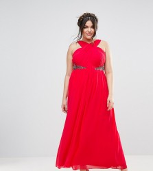 Little Mistress Plus Cross Front Maxi Dress With Embellishment - Red