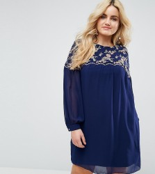 Little Mistress Plus Floral Embroidered Shift Dress - Navy