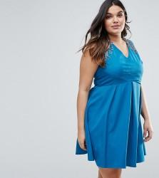 Little Mistress Plus Gathered Crossover Dress - Blue