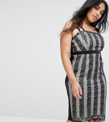 Little Mistress Plus Lace Stripe Midi Dress - Multi