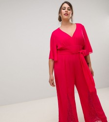 Little Mistress Plus plunge front batwing jumpsuit with lace insert detail in cherry - Red