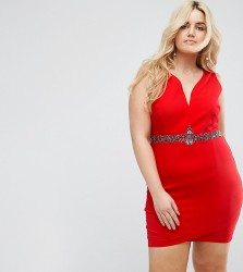 Little Mistress Plus Plunge Front Bodycon Dress With Waist Embellishment - Red