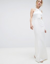 Little Mistress Racer Neck Maxi Dress With Embellished Detail And Open Back - White
