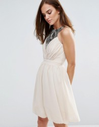 Little Mistress Sequin Trim Prom Dress - Beige