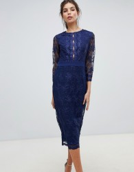 Little Mistress sheer mid length sleeve embroidered mesh pencil dress with scallop edging ves. - Navy