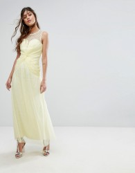 Little Mistress Sweetheart Maxi Dress With Embellished Neck - Yellow