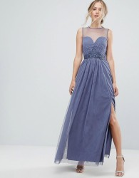 Little Mistress Sweetheart Mesh Maxi Dress With Embroidered Trim - Purple