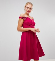 Little Mistress Tall bardot embellished shoulder skater dress in berry - Red