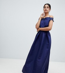 Little Mistress Tall bardot full prom midaxi dress with applique - Navy