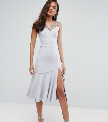 Little Mistress Tall Beaded Midi Dress With Peplum Hem Detail - Grey
