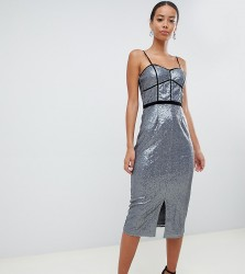 Little Mistress Tall cami strap panelled sequin pencil dress in silver - Silver