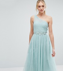 Little Mistress Tall Full Prom Tulle One Shoulder Midi Dress With Lace Applique - Green