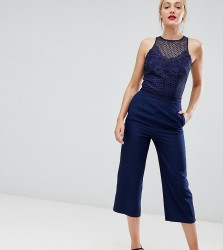 Little Mistress tall lace applique top jumpsuit in navy - Navy