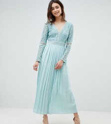 Little Mistress Tall lace top midi skater dress with pleated skirt in spearmint - Green