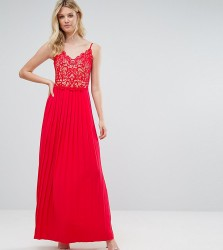 Little Mistress Tall Lace Top Pleated Maxi Dress - Red