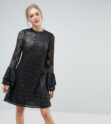 Little Mistress Tall Metallic Cutwork Lace Swing Dress With Fluted Sleeve Detail - Silver