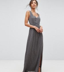 Little Mistress Tall Metallic Jersey Maxi Dress With Wrap Detail - Silver