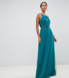Little Mistress Tall plunge front embellished maxi dress in green - Green