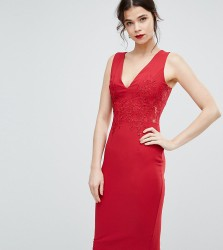 Little Mistress Tall Plunge Front Lace Applique Bodycon Dress - Red