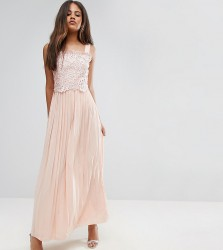 Little Mistress Tall Premium Lace Top Maxi Dress With Pleated Skirt - Pink