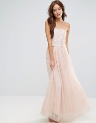 Little Mistress Tulle Maxi Dress With Floral Applique Bodice - Cream