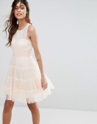 Little Mistress Tulle Mini Dress in Tiers - Pink