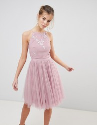 Little Mistress tulle skirt skater dress - Pink