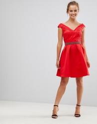 Little Mistress V Front & Back Skater Dress With Embellished Waist - Red