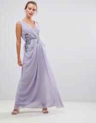 Little Mistress V Neck Maxi Dress With Embellished Detail - Purple