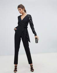 Little Mistress wrap front jumpsuit with sequin sleeves and exposed back - Black