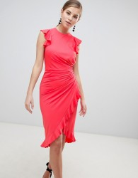 Little Mistress Wrap Midi Dress With Ruffle Detail - Pink