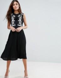 Little White Lies Anouk Embroidered Skater Dress - Black
