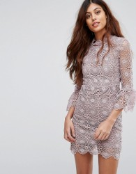 Little White Lies Jenna Lace Dress With Open Back And Frill Sleeve - Purple