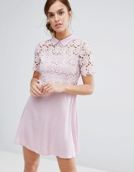 Little White Lies Philo Dress Lace Shift Dress With Collar - Pink