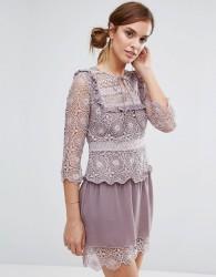 Little White Lies Rachel Lace Bib Detail Dress - Purple