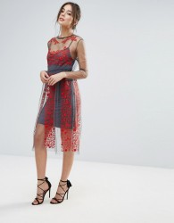 Little White Lies Stargazer Embroidered Dress - Red