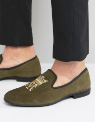 London Brogues Crown Slipper Loafers - Green