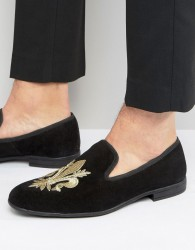London Brogues Fleur De Lys Embroidered Slipper Loafers - Black