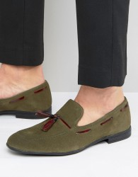 London Brogues Tassel Loafers In Green - Green