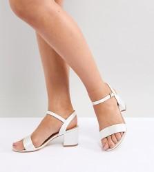 London Rebel Bridal Mid Block Heeled Sandals - Cream