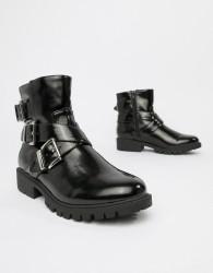 London Rebel chunky buckle boots - Black