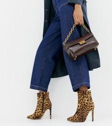 London Rebel Leopard Wide Fit Stiletto Ankle Boots - Multi