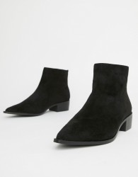 London Rebel Pointed Ankle Boots - Black