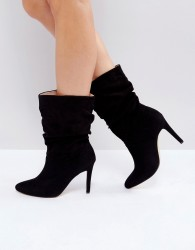 London Rebel Rouched Low Height Stiletto Boot - Black