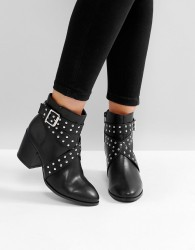London Rebel Stud Wrap Buckle Boots - Black